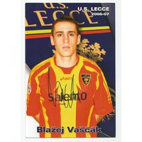 Blazej Vascak(Lecce, Италия). Живой автограф на большой карточке.