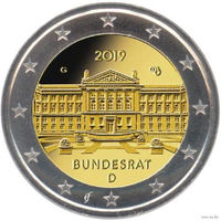 2 евро 2019 Германия F 70 лет Бундесрату UNC из ролла