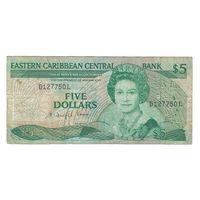 Восточные Карибские штаты Санта-Лючия (буква L) 5 долларов 1986 года. Редкая!