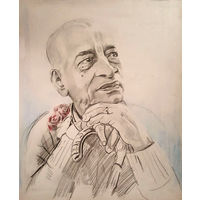 Портрет Ш.Прабхупады карандашом, формат чуть больше А5