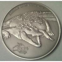 """ТОКЕЛАУ 5 долларов 2013 год """"КРОКОДИЛ"""" (серебро)"""