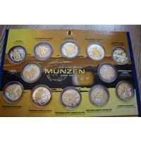 Либерия 10 долларов 2004 Животные птицы НАБОР 12 монет СЕРЕБРО бриллианты