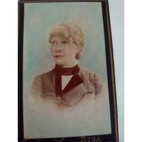 Старинный цветной Визит-портрет Ядвиги Василевской.Фотоателье Эммануила фон Эггерт.Рига.Около 1890 г.