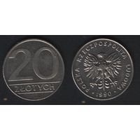 Польша y153.2 20 злотых 1990 год (mw) (h03)