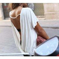 Блуза-майка белоснежная с открытой спинкой р.48-50