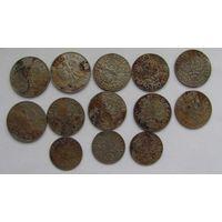 20, 50 грошей 1923 г. 1 злотый 1929 г. 13 шт.