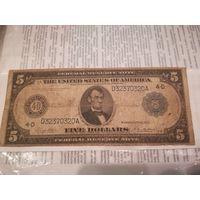 Банкнота 5 доллоров сша 1914 года