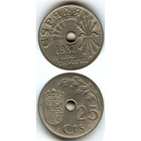 Испания 25 сентимо 1937 г. KM#753