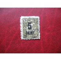 Марка надпечатка 5 цент. на 50 ск. (новая цена) 1922 год Литва