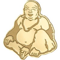 "Палау 1 доллар. ""Смеющийся Будда"".  Монета в капсуле; сертификат. ЗОЛОТО 0,5гр."