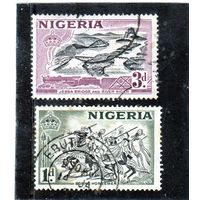 Нигерия. Британские колонии.Ми-72,76.Локомотив, мост Джебба и река Нигер.Всадники Борн.1953.