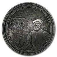 """Самоа 2 доллара 2019г. """"500 лет первому кругосветному путешествию Фердинанда Магалана"""". Вогнутая форма. Монета в деревянном подарочном футляре; номерной сертификат; коробка. СЕРЕБРО 40гр."""