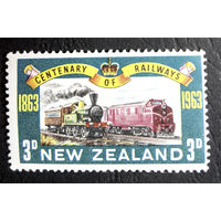Новая Зедандия 1963 г. Поезда.Железная дорога. 1 марка. Чистая #0008-Ч1