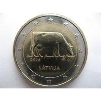Латвия 2 евро 2007 г. Латвийская бурая корова. (юбилейная) UNC!