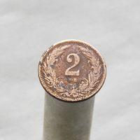 Австро-Венгрия 2 филлера 1908 чеканка для Венгрии