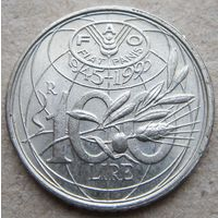 Италия 100 лир 1995 ФАО (2)