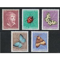 1952 Швейцария 575-79 Насекомые 11,00евро
