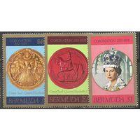 Бермуды. Королева Елизавета II. 25 лет коронации. 1978г. Mi#349-51. Серия.