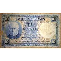 Исландия 10 крон 1928г P.28а -редкая-