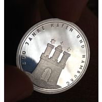 10  марок 1989   ФРГ 800 лет Гамбургскому порту Серебро  15.5 грамм