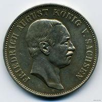 Саксония. 5 Марок 1908 года. Состояние XF/XF+