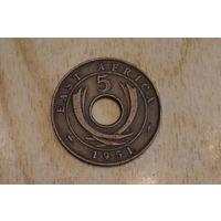 Восточная Африка 5 центов 1951