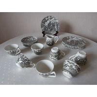 Сервиз чайный фарфоровый серый 6 персон 20 предметов серия Royal Mail / Королевская почта Myott Staffordshire Англия, состав: 6 чашек, 6 блюдец, 6 тарелок, молочник, сахарница.|
