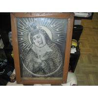 Католическая икона под стеклом в деревянной раме 47х35 см