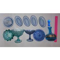 Посуда СССР, синее стекло, бирюзовое. графин, вазочки, конфетницы....масленка