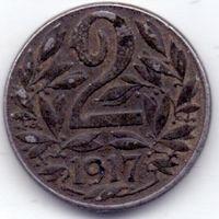 Австрия,  2 геллера 1917 года.