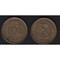 Финляндия km46 10 пенни 1975 год (S) (f32)(b04)n