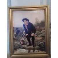 Картина рыболов НА БУМАГЕ Василий Перов  В оригинальной  в заводской рамке 1983 года тираж 15-000.РАЗМЕРЫ КАРТИНЫ 58Х48. ПОЛОТНА 53Х43