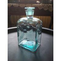Бутылка штоф медцинский, старый, родная крышка, без сколов и трещин, 0.5 литра, высота 16 см.