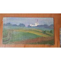 Этюд с видом на костел 13х24 см