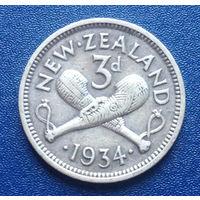 Новая Зеландия 3 пенса 1934 Георг V серебро