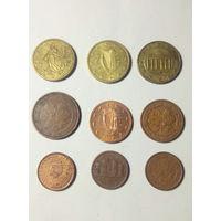 Евро центы 9 шт.одним лотом.Старт с 2-х рублей без м.ц.Смотрите другие лоты,много интересного.