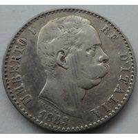 Италия 2 лиры 1883 года. Серебро.