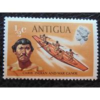 Антигуа. 1970 г. Индеец и каноэ.