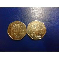 Маврикий 10 рупий 2000 г.-цена за монету