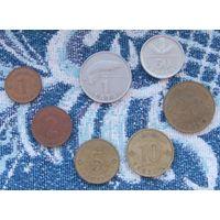 Латвия 1, 2, 5, 10, 20, 50 сантимов; 1 лат. АU. Гарантия низкой цены!