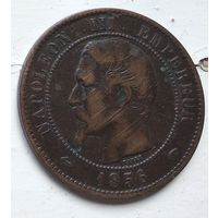 """Франция 10 сантимов, 1856 """"A"""" - Париж 3-12-16"""