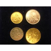 Монеты Сингапура, набор 4 шт.