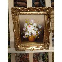338 Красивая Винтаная Картина Цветы Масло Холст 24х19см - Рама Дерево 34х29