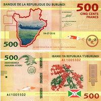 Бурунди 500 франков 2018 год  UNC