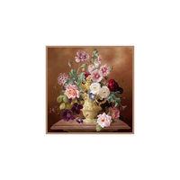 Наволочка декоративная Цветы в вазе яркие,красивые  43х45 на молнии Двустороняя