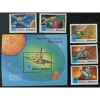 Освоение Марса. Мадагаскар,1989, серия 5 марок+блок
