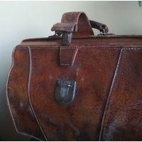 Сумка портфель саквояж чемодан натуральная кожа старая работа Европа