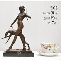 """Бронзовая Скульптура / Статуэтка """"DIANA WITH HOUND"""" Франция, Автор E. McCartan  (Нет в наличии, под заказ!)"""