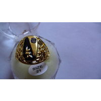 Мужской перстень с чёрной вставкой и камушком . 7 распродажа