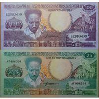Суринам. 25+100 гульденов (образца 1986 года, UNC)